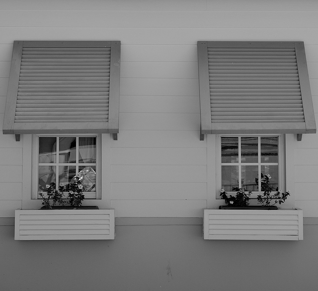 Twin window with shutters in mahogany bay