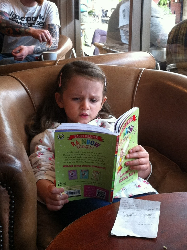 The daughter reading